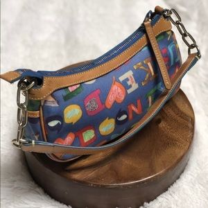Dooney & Bourke Signature Crayon Small Hobo Blue
